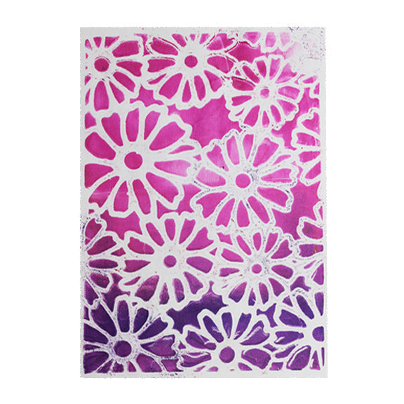 Flower Stencil - Designed to print with 5x7 Gelli Arts® printing plate