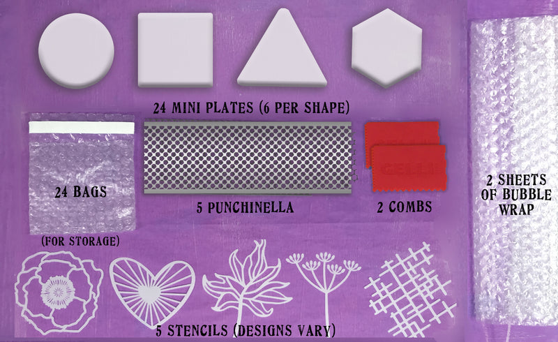 New Assorted Mini Plate Class Pack - Contains 24 Assorted Shaped Mini Plates & Accessories