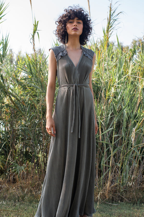 Maxi Plisse In Green