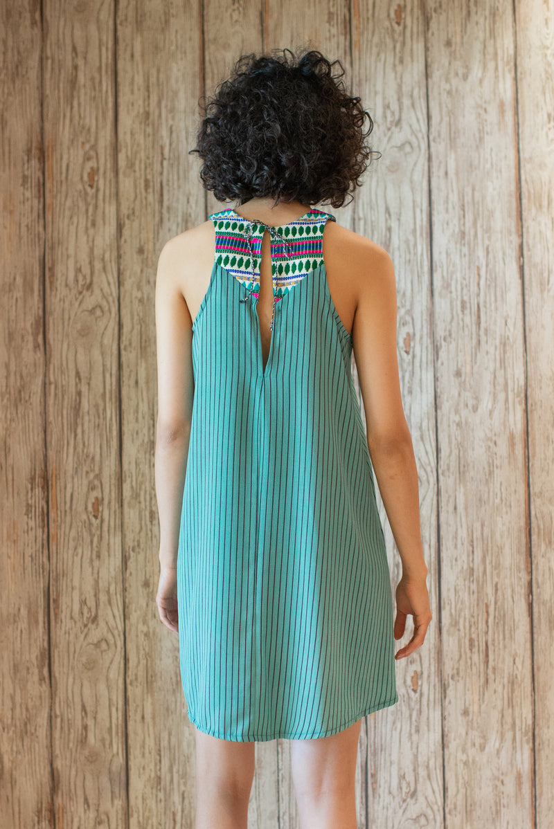 Embroidered Mini Dress In Printed Green Stripes