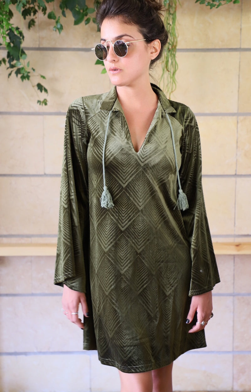 VALENTINA Dress in Olive velvet