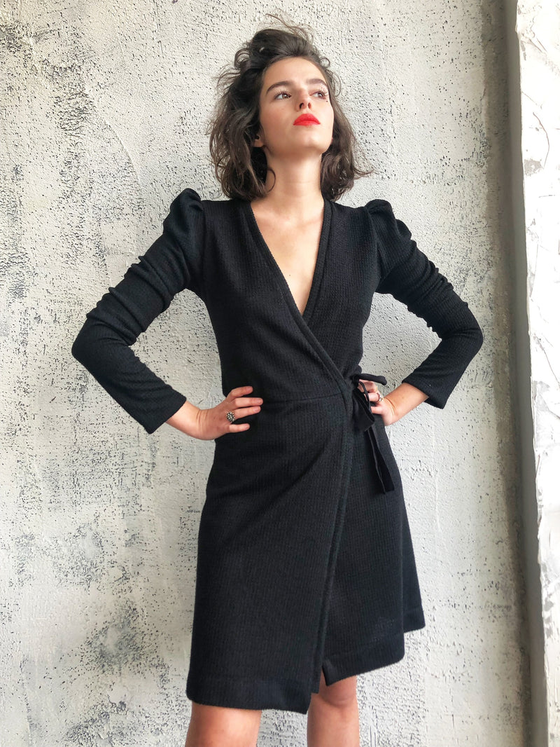 Milano wrap dress in Black