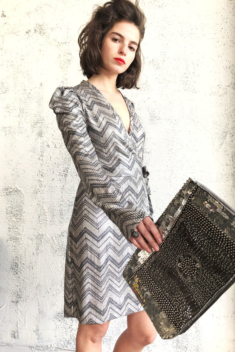 Milano wrap dress in Silver Chevron