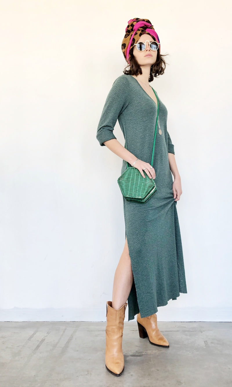 V Neck Maxi SELENA Dress in knitted Green
