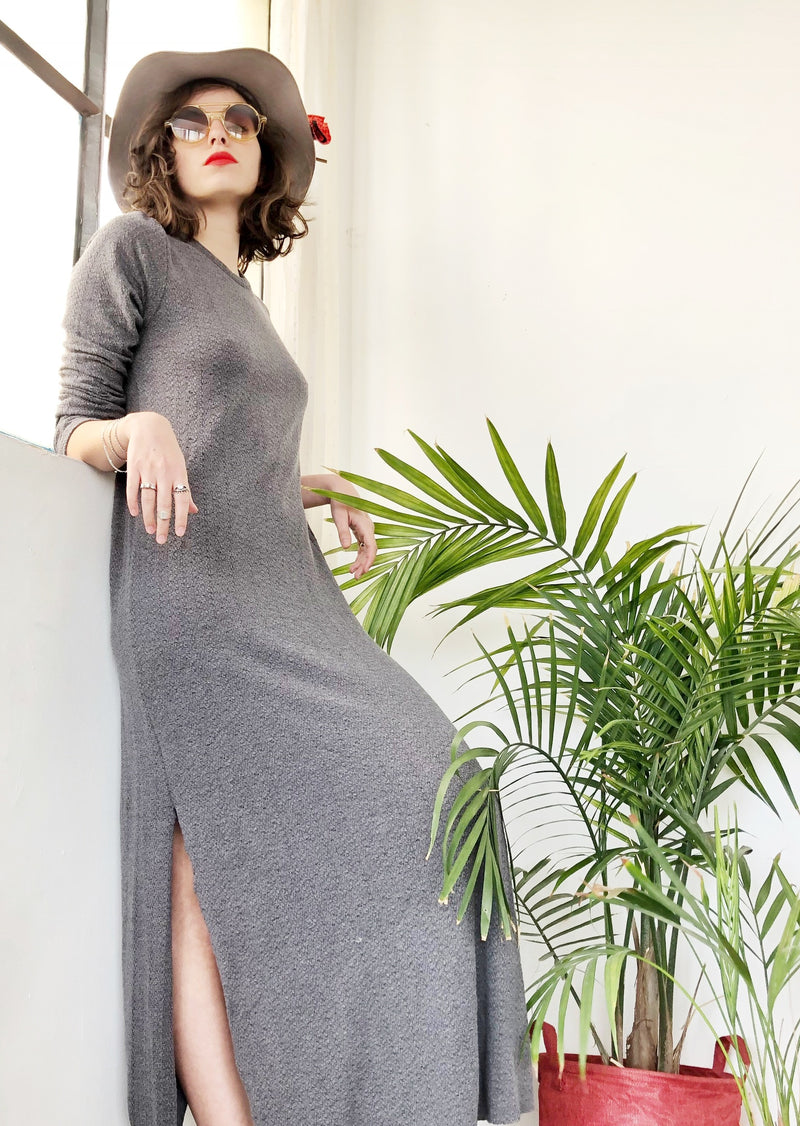 Crew neck Maxi SELENA Dress in knitted Grey