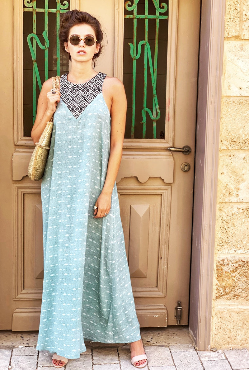 Maxi Monaco in Mint with Black & White Embroidery