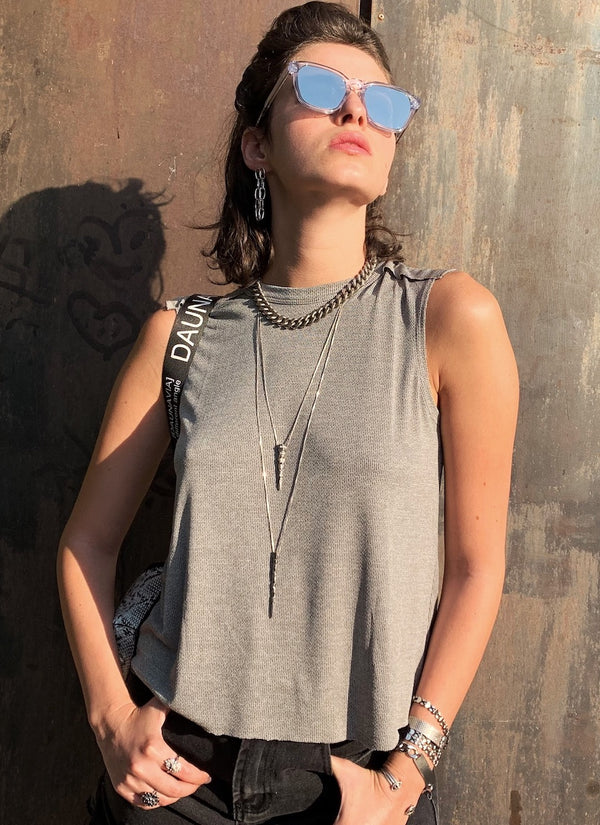 Luna Top in Grey Pique