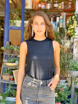Luna Top in Shiny Ribbed Black