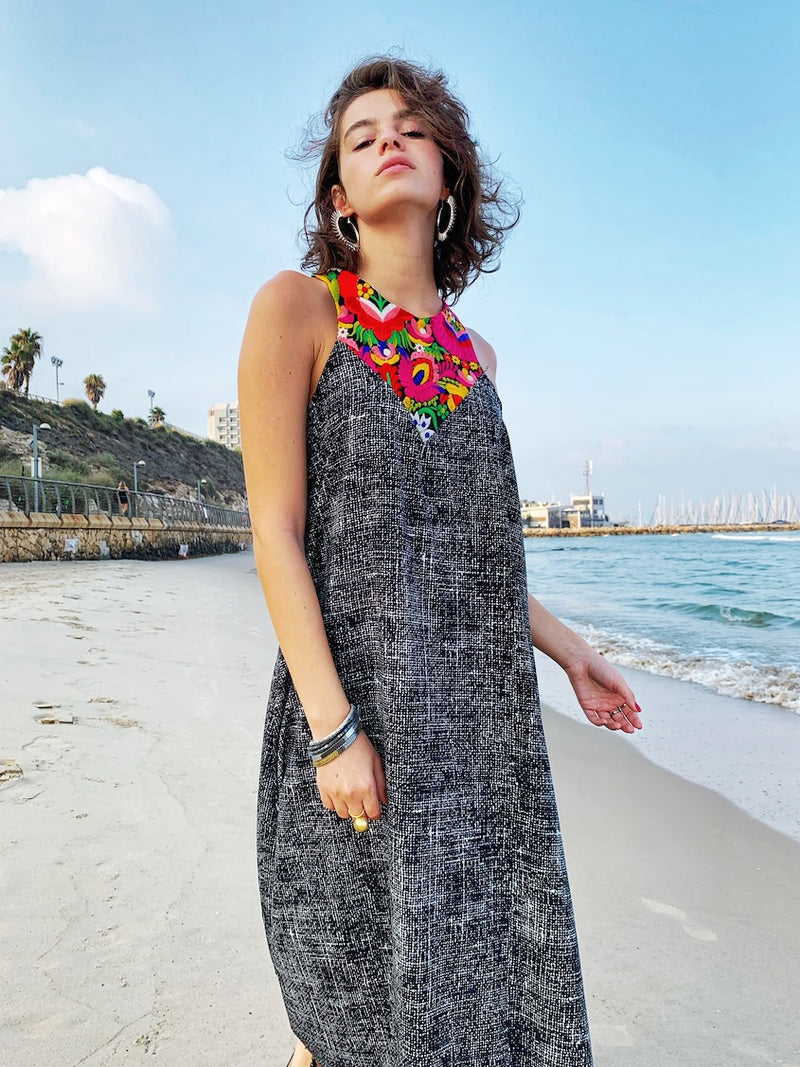 Maxi Monaco in Flickering Black & Frida Kahlo Embroidery