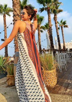 Maxi Monaco in Printed White & Red Embroidery