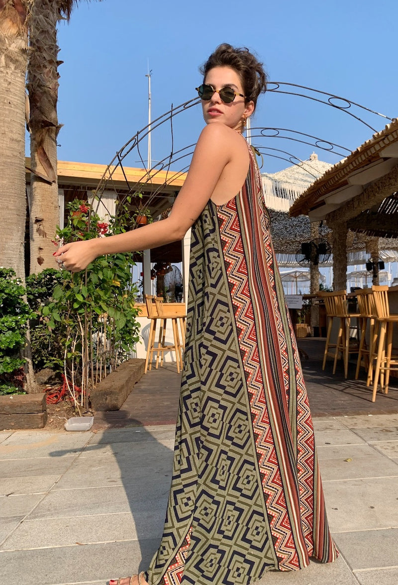 Maxi Monaco in Blue-Olive print & Red Embroidery