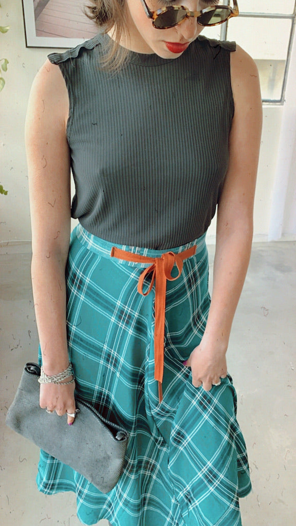 Check Print Midi Skirt in Green