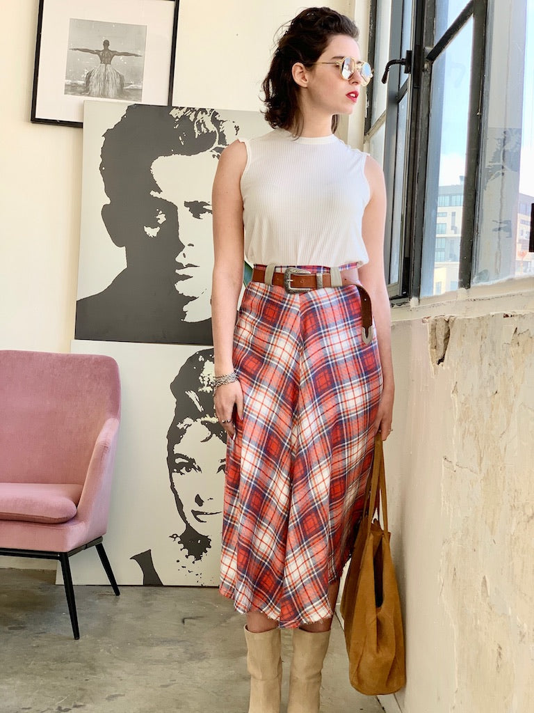 Check Print Midi Skirt in Red