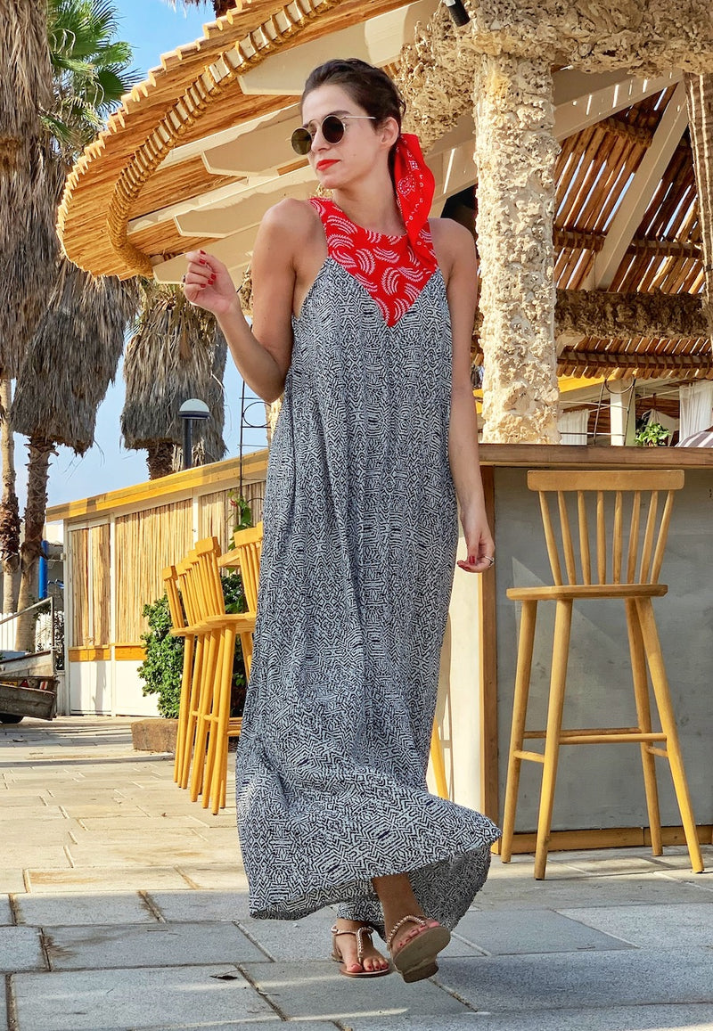 Maxi Monaco in Printed Black and White & Red Embroidery