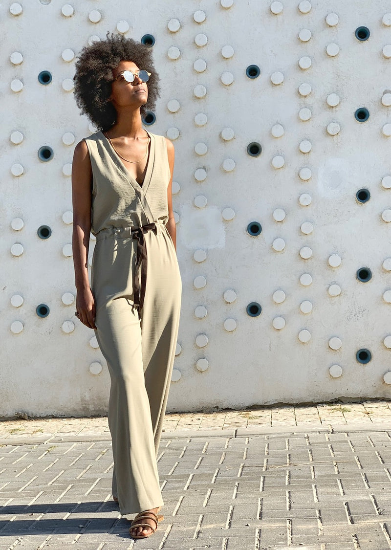 Dallas Jumpsuit in Pistachio Green