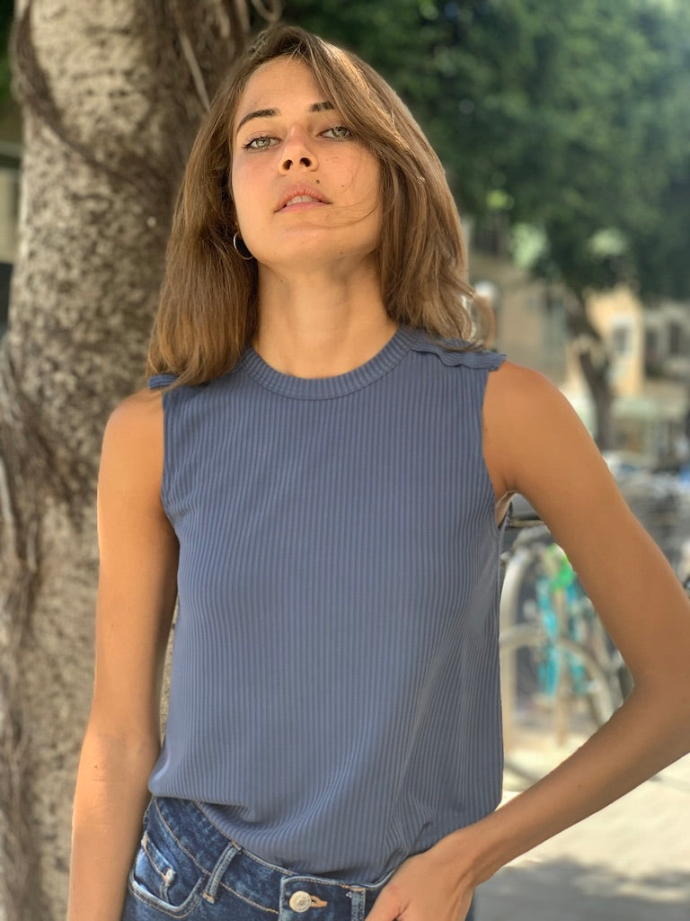 Luna Top in Ribbed Blue Cupro