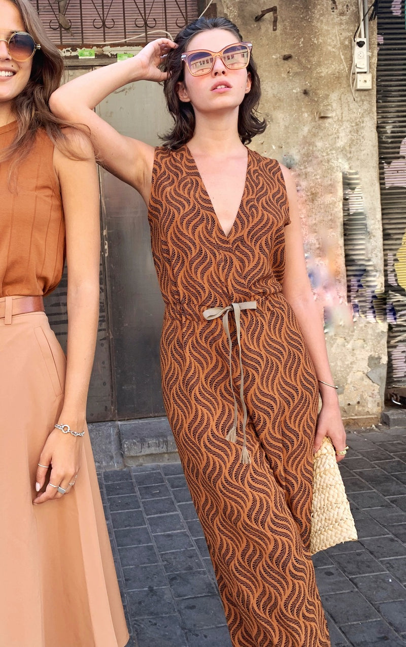 Dallas Jumpsuit in Printed Brown
