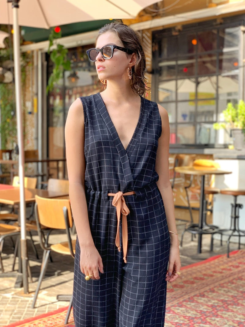 Dallas Jumpsuit in Black Check