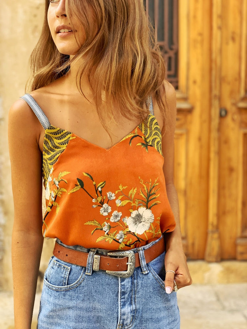 Mexicana Top in Printed Orange