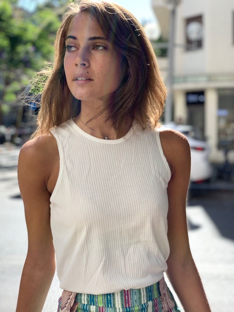 Lily Top in Ribbed White cupro