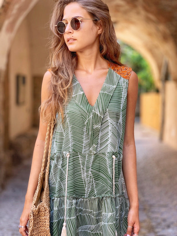 Mini sleeveless Santana In Printed Green
