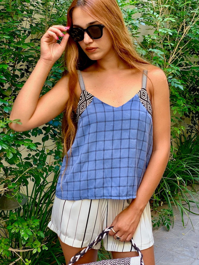 Mexicana Top in Blue Check