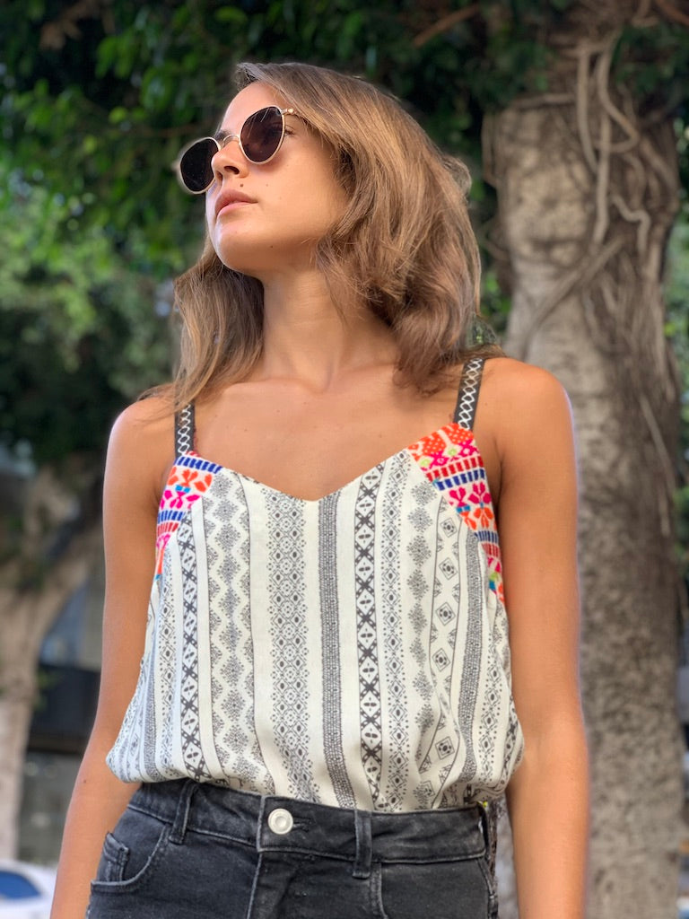 Mexicana Top in Printed White