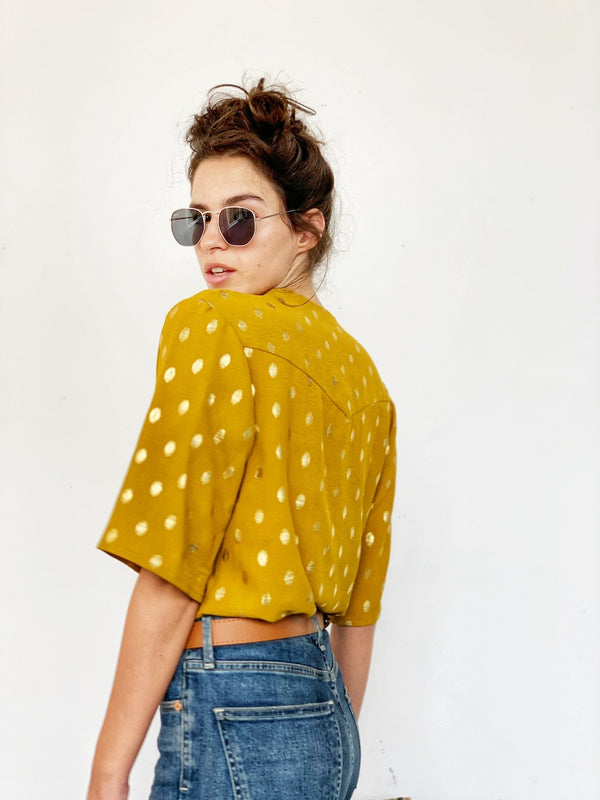 Santana top in Mustard & Gold