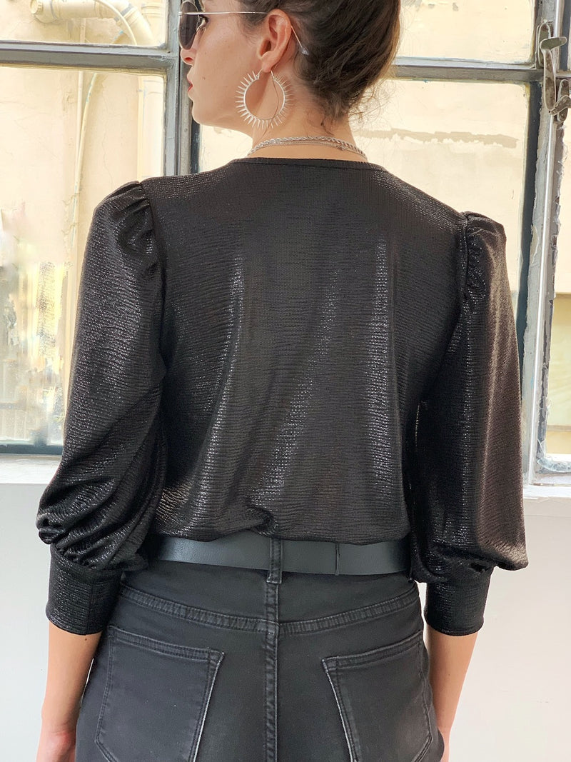 Louise Top in Shiny black