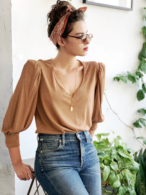 Louise Top in Ribbed Dark Nude