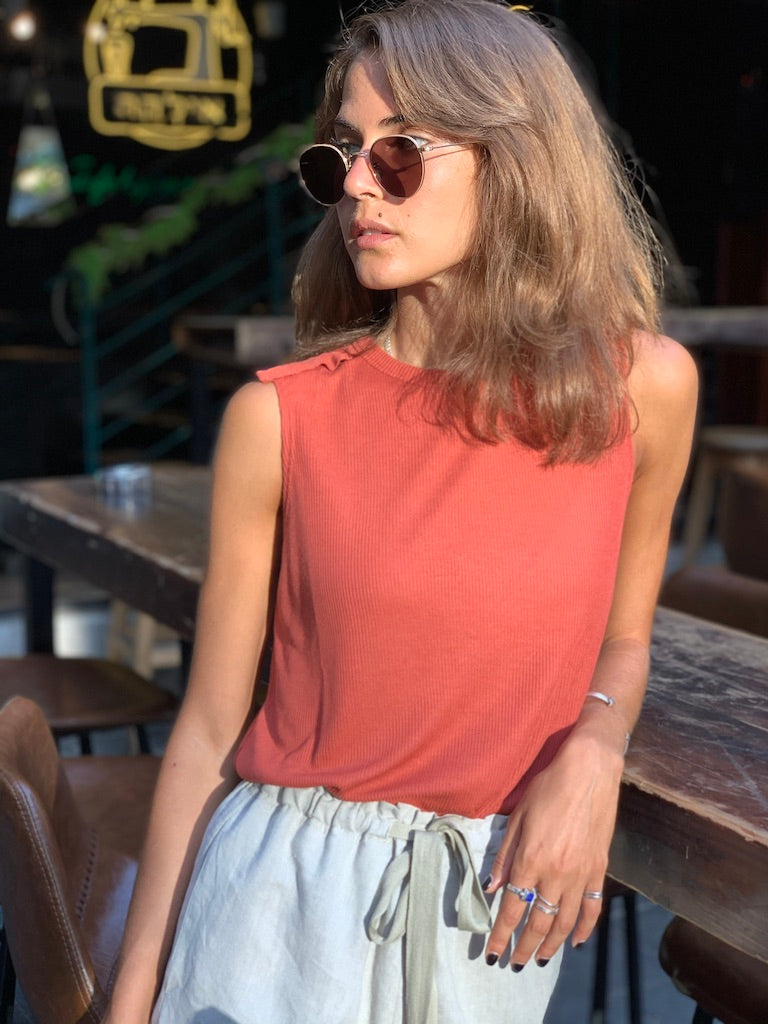 Luna Top in Ribbed Brick