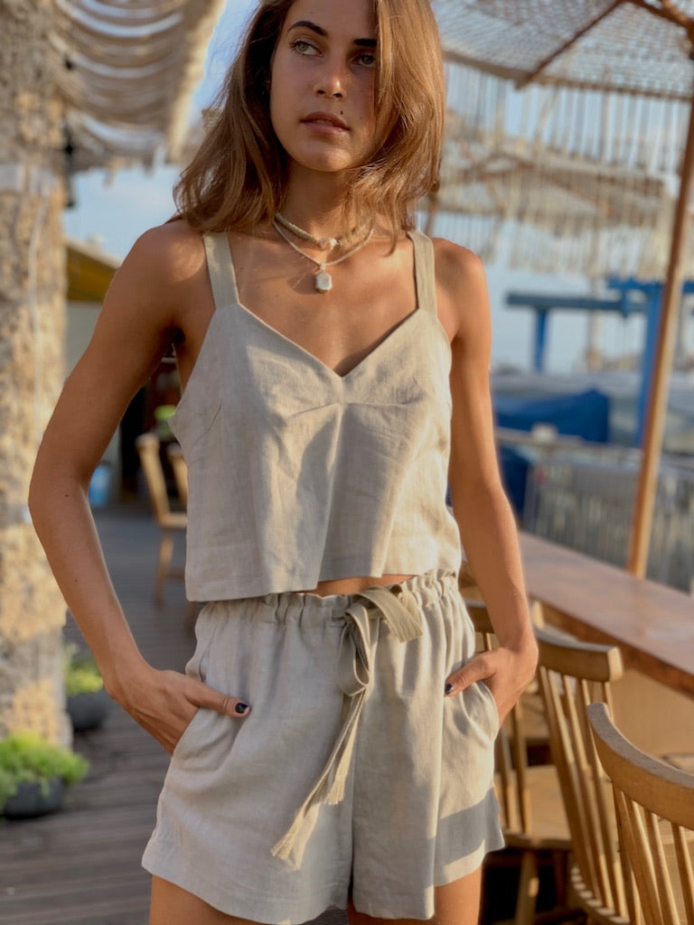 Linen Shorts in Stone