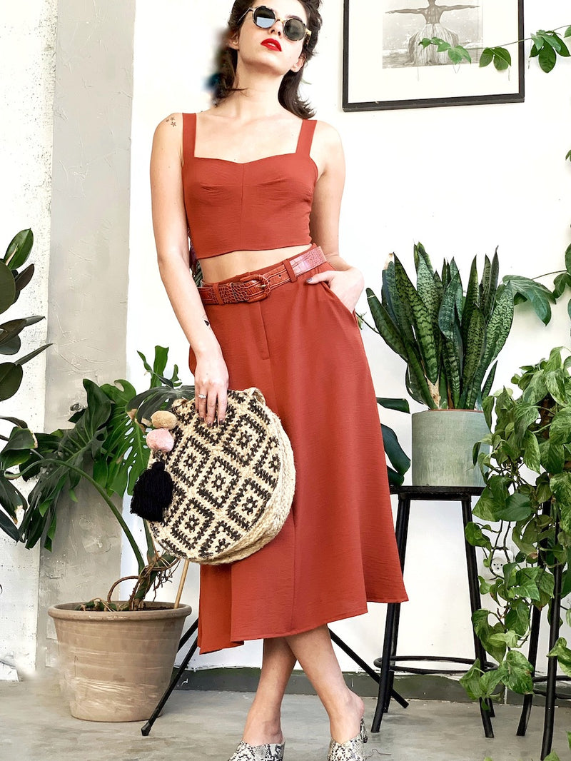 London Midi Skirt in Brick
