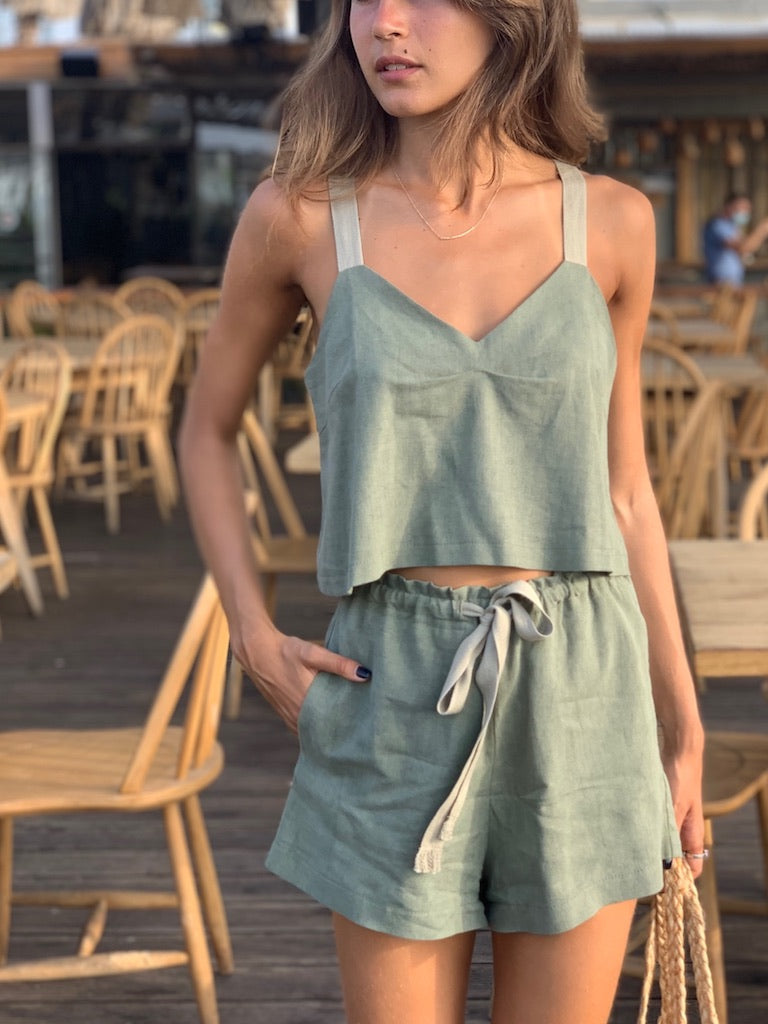 Linen Crop Top in Olive