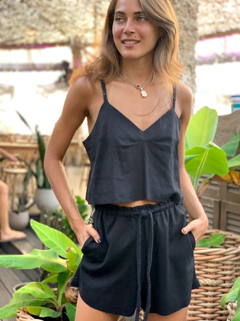 Linen Crop Top in Black