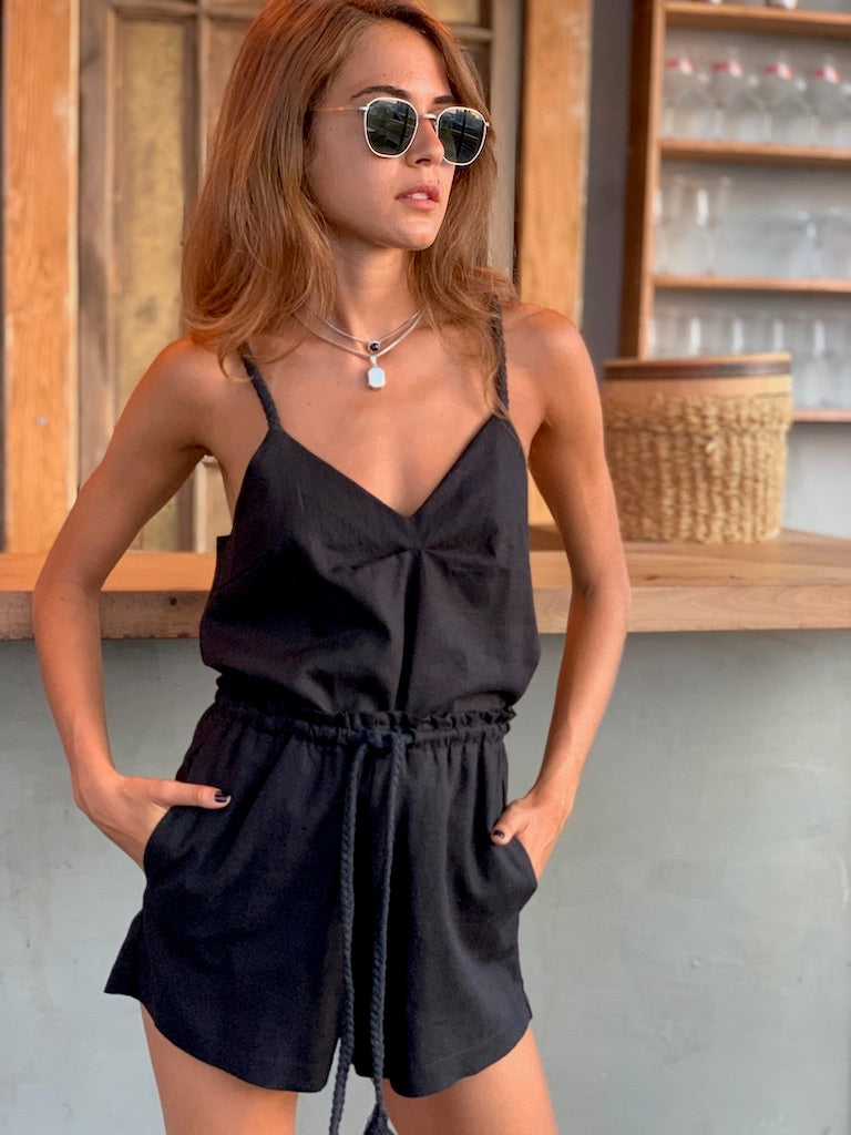 Linen Top in Black