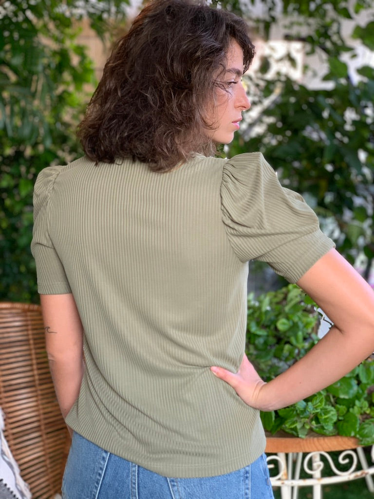 Louisa Top in Ribbed Green