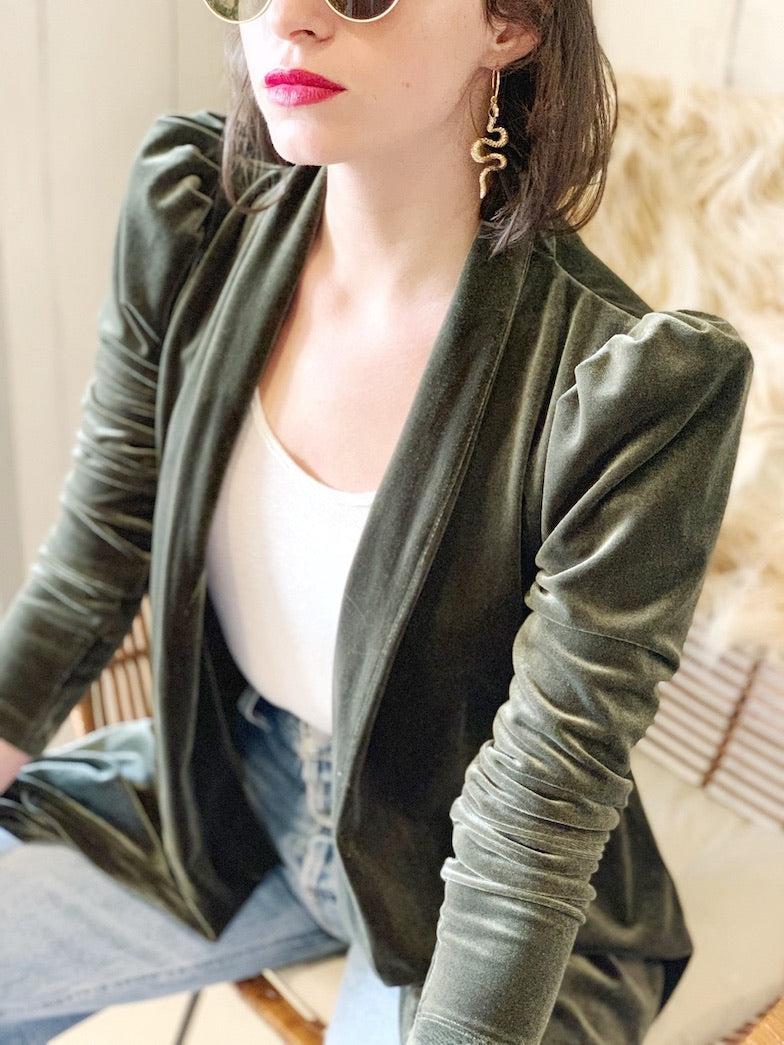 Berlin Jacket in Olive Green Velvet