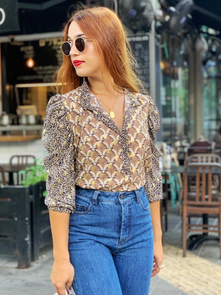Chaplin Top in Printed Brown
