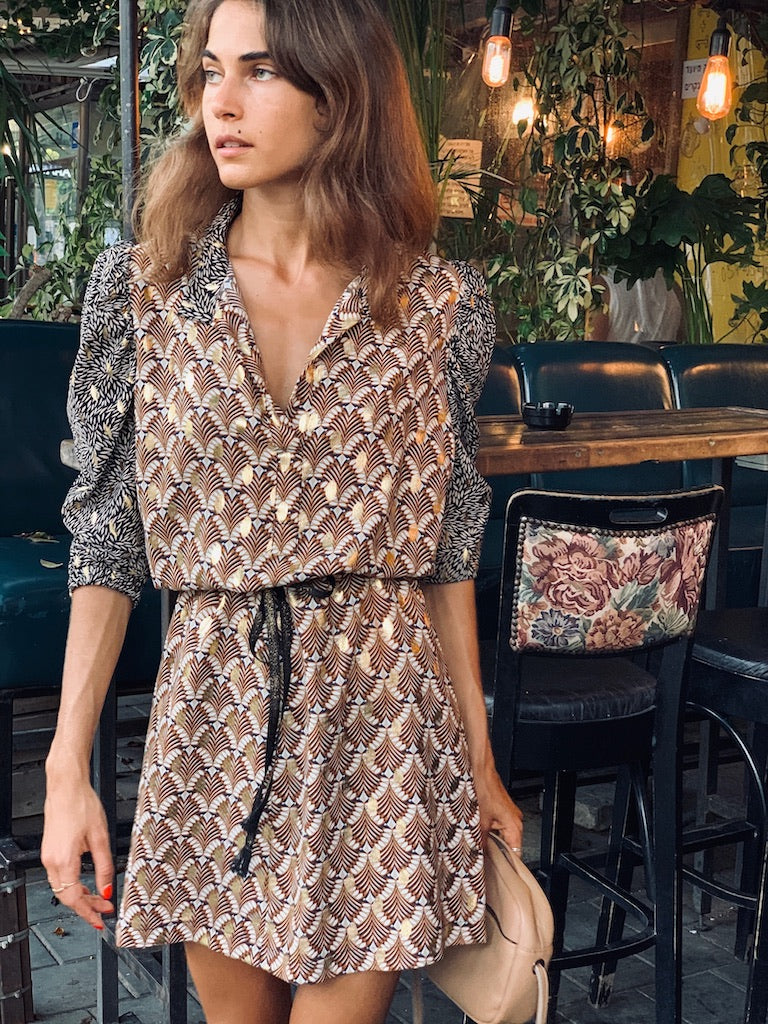 Chaplin Dress In Printed Brown