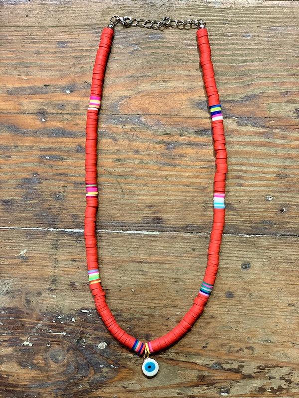 White Eye Tribe Necklace In Red