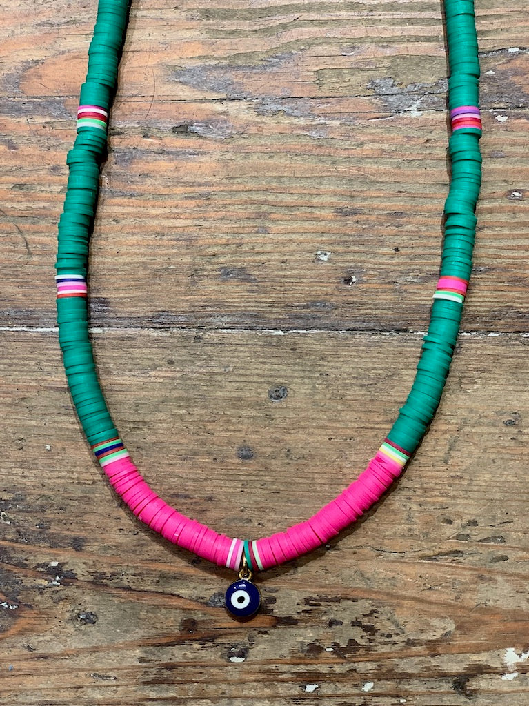 Navy Eye Tribe Necklace In Green & Pink