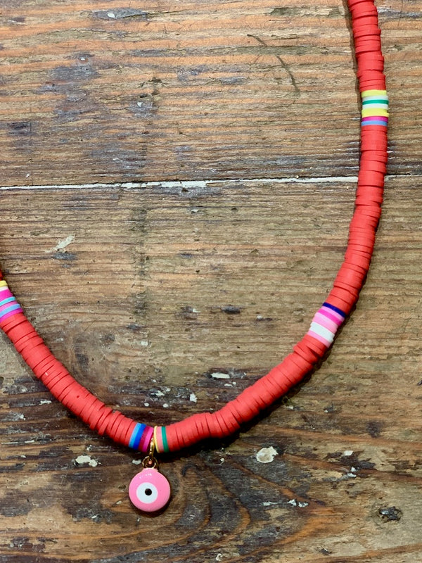 Pink Eye Tribe Necklace In Red