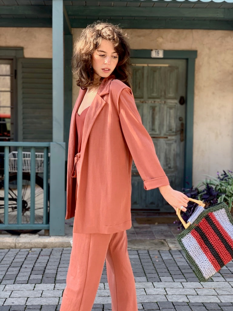 Jessa Suit in Peachy Brick
