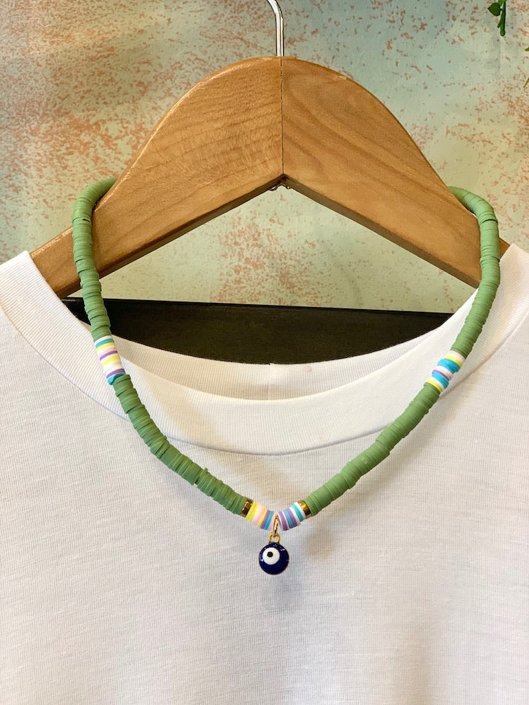 Navy Eye Tribe Necklace In Green