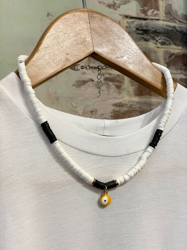 Yellow Eye Tribe Necklace In Black & White