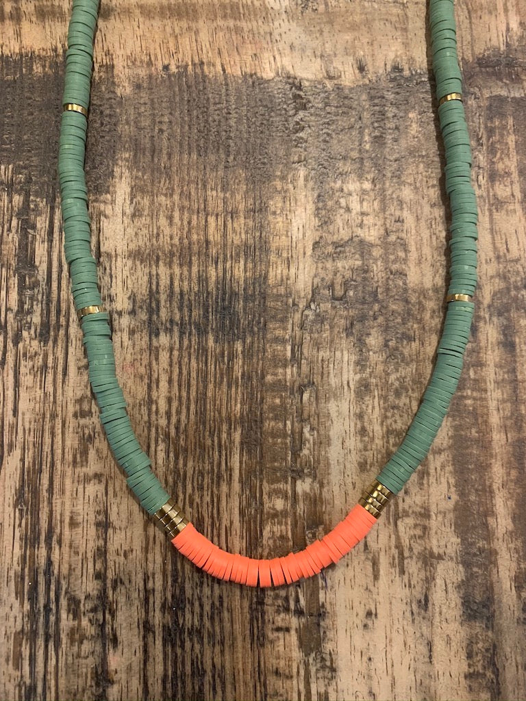 Tribe Necklace in Green & Orange