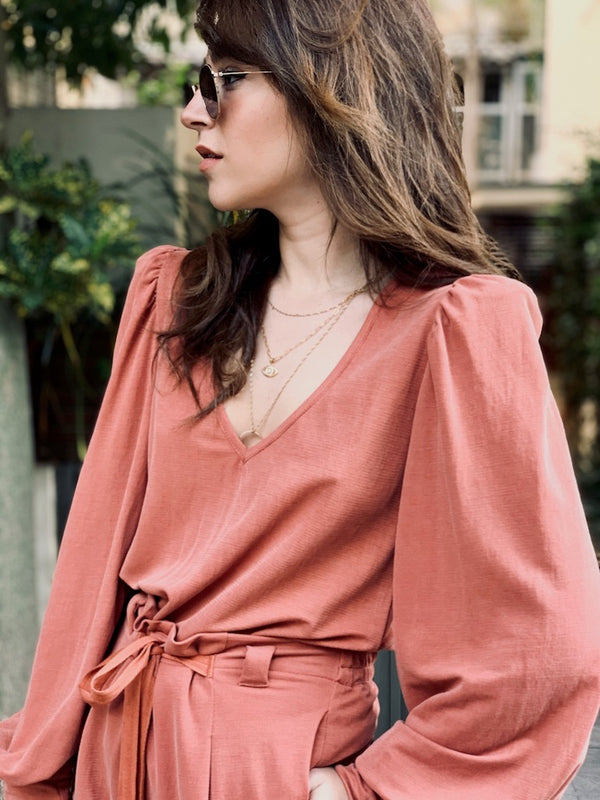 Louise Top in Pink Brick