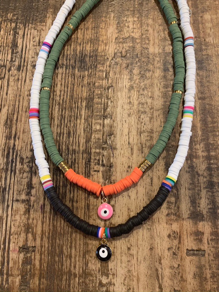 Pink Eye Tribe Necklace In Green & Orange