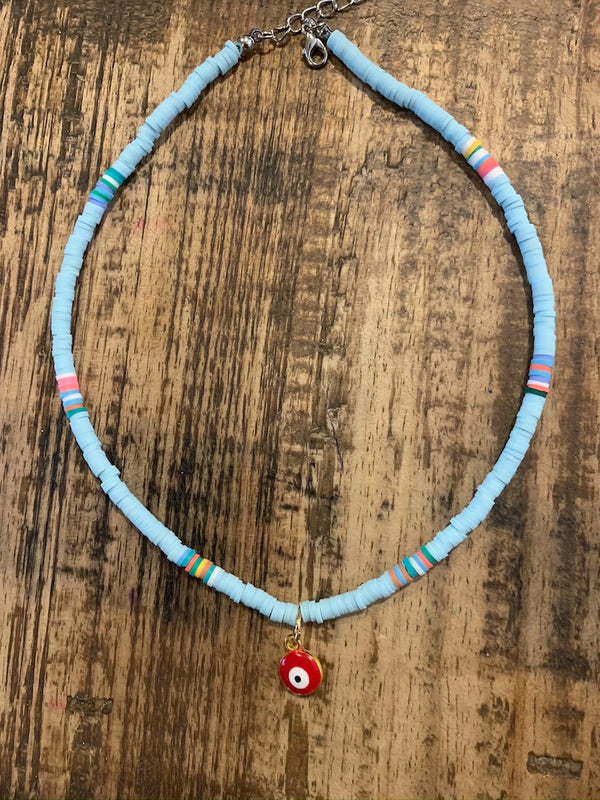 Red Eye Tribe Necklace In Blue